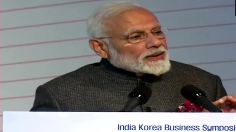 'It is a matter of great honour and my good fortune to unveil the bust of Mahatma Gandhi in Korea's premier university today,' Modi said. (Photo: ANI | Twitter)