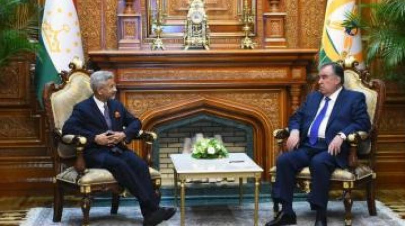 External affairs minister S. Jaishankar with Tajik President Emomali Rahmon. (Photo: Twitter/@DrSJaishankar)