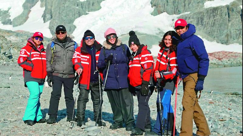 A group of seven Hyderabadis on a 13-day trip to Antarctica. (DC Photo)