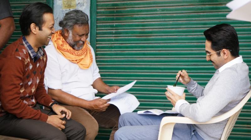 Aakash Dabhade with Anubhav Sinha and lead actor Ayushmann Khurrana.