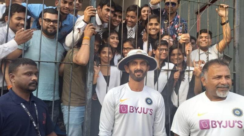India batting coach Vikram Rathour, bowling coach Bharat Arun and Bangladesh skipper Mominul Haque after the match met with a group of specially-abled students including Geeta at the Holkar Cricket Stadium here on Saturday. (Photo:ANI)