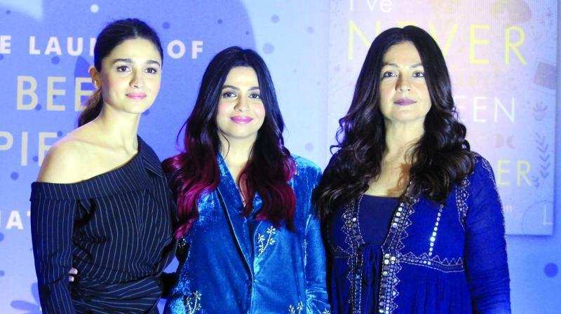 Alia, Shaheen and Pooja Bhatt at I've Never Been (Un)Happier book launch. (Photo: Mrugesh Bandiwadekar)