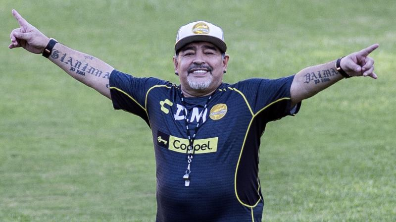 Argentine legend Diego Maradona gestures during his first training session as coach of Mexican football club Dorados, at the Banorte stadium in Culiacan, Sinaloa State, Mexico. - Argentinian football legend Diego Maradona passed away on November 25, 2020. (AFP)