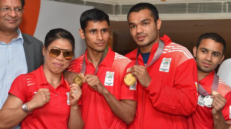 File photo of boxers MC Mary Kom, Gaurav Solanki, Vikas Krishan and Amit Panghal. PTI Photo
