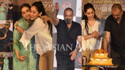 Sanjay Dutt turned 60 yesterday and on this special day, the actor celebrated his birthday at the teaser launch of his next, Prasthanam. Produced by wife Maanayata Dutt, the event was attended by his film's co-stars Manisha Koirala, Jackie Shroff, Ali Fazal, Satyendra Dubey and others. (Photos: Viral Bhayani)