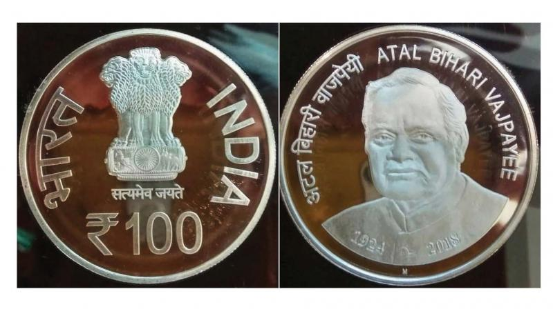 The Rs 100 commemorative coin was released in the memory of Atal Behari Vajpayee on the eve of his birth anniversary in New Delhi on Monday. (Photo: PTI )