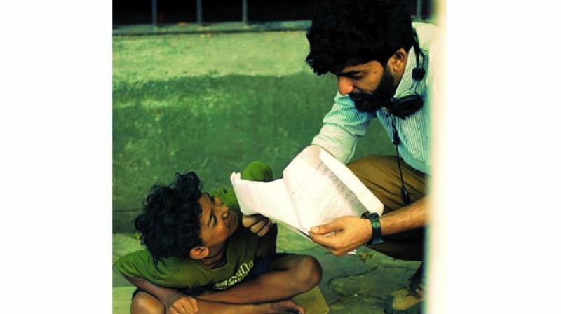 Sunny Pawar and Safdar Rahman on the sets of the film