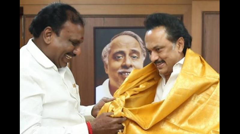 In his speech at a function on Sunday, Kumar had said 'ripe time will come and things will take place automatically. Thalapathi (as Stalin is called by his followers) will ascend the (Chief Minister's) throne.' (Photo: Twitter | DMK)