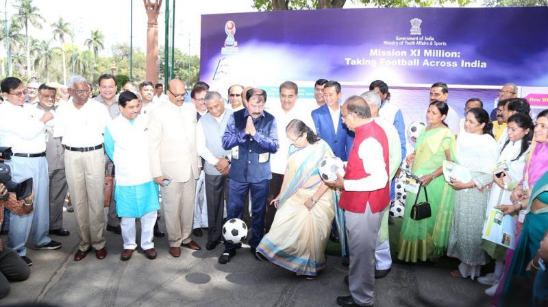 The occasion was the presentation of footballs to MPs of both houses of Parliament by Lok Sabha Speaker Sumitra Mahajan. (Photo: Lok Sabha)