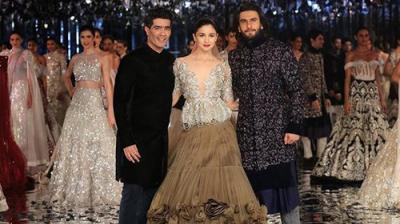 Beautiful Alia Bhatt and dapper Ranveer Singh walk the ramp for ace designer Manish Malhotra. (Photo: Instagram/theimagecode)