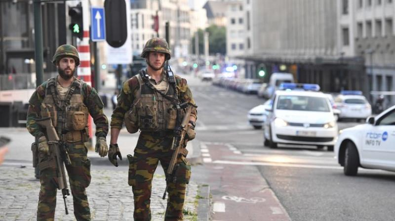 Belgian Army soldiers patrol near Central Station in Brussels after a reported explosion on Tuesday (Photo: AP)