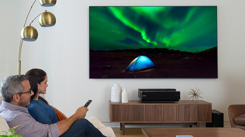 The company says that the laser TV doesn't require a dark environment and messy cables.