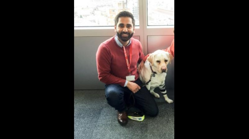 Former doctor Amit Patel and Kiki (Twitter Screengrab/ @Kika_GuideDog)