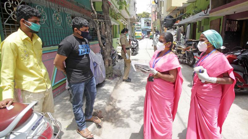 ASHA workers during a door to door survey, to screen people from Covid19 symptoms. PTI Photo