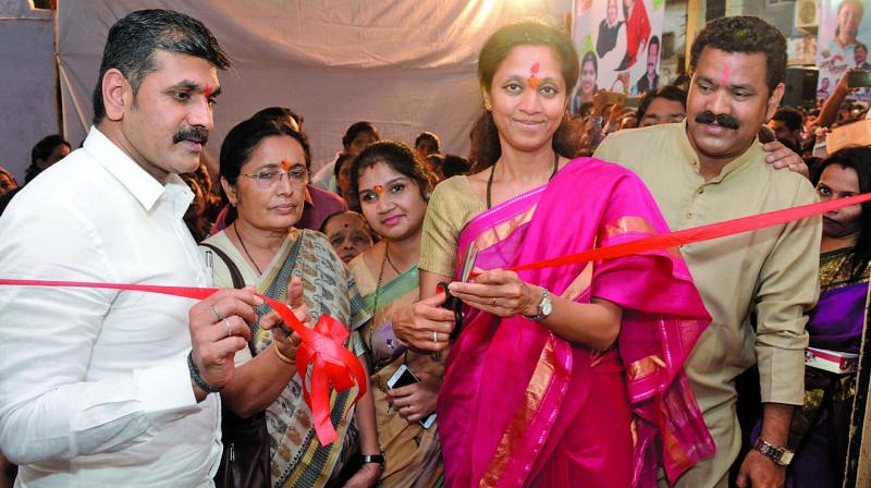NCP leader Supriya Sule at an event at Rashtriya Mill Mazdoor Sangh, in Parel on Tuesday.