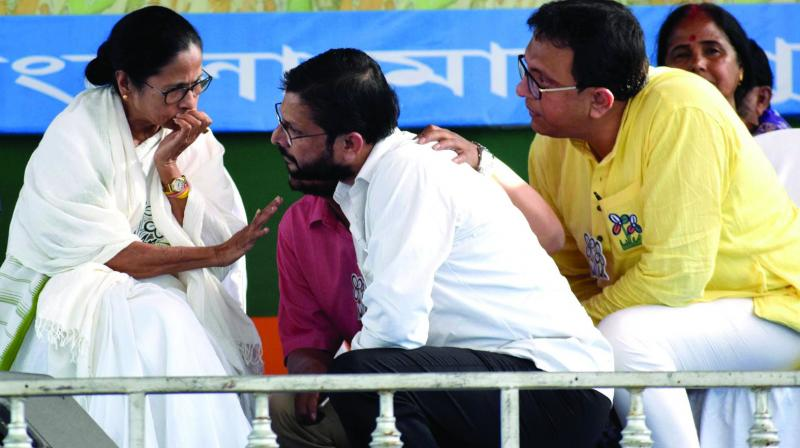 West Bengal Chief minister Mamata Banerjee during an election rally with party candidate Mriganka Mahato at Kotsila in Purulia District on Wednesday. (Photo: Asian Age)
