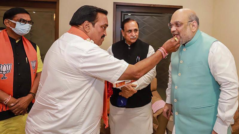 Gujarat Chief Minister Vijay Rupani, state BJP chief CR Patil meet Union Home Minister Amit Shah at his residence, after BJP won the majority seats in Gujarat Municipal Elections, in Ahmedabad on February 23, 2020. (PTI)