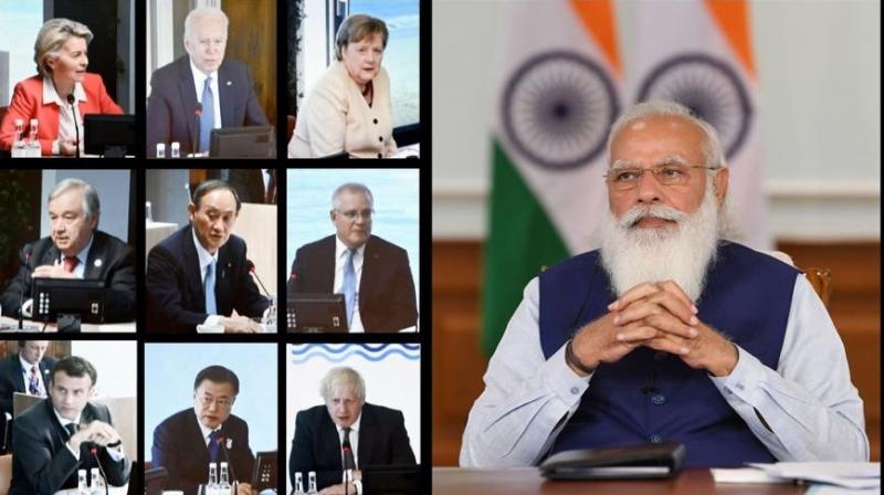 Prime Minister Narendra Modi participates in the first Outreach Session of the G7 Summit virtually.(Photo: Twitter/@PiyushGoyal)