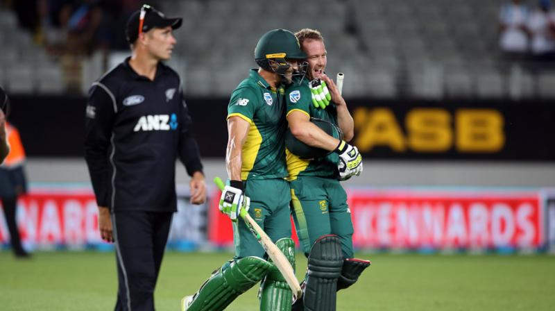 David Miller helped South Africa blast 14 runs from their super over, before the wily Tahir restricted Sri Lanka to only five in reply, two of which were wides.  (Photo: AFP)