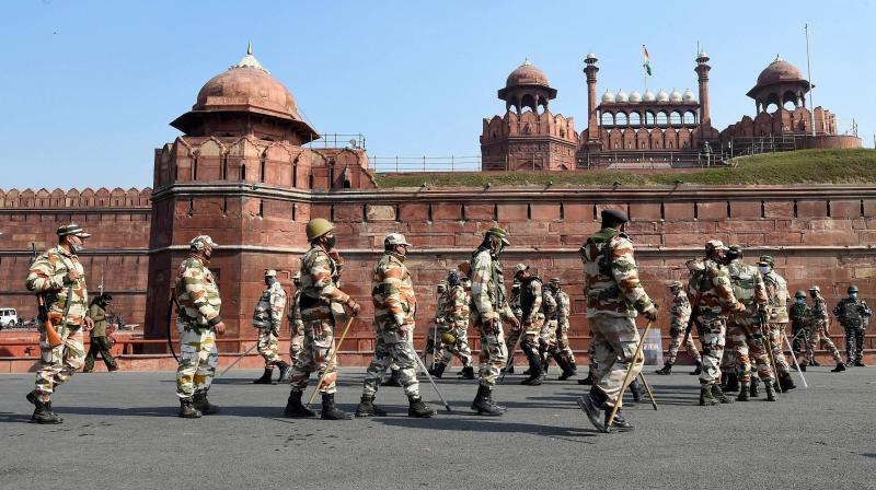 Security tightened at Red Fort, a day after it was stormed by protesting farmers during their tractor march, in New Delhi, Wednesday, January 27, 2021. (PTI /Kamal Singh)