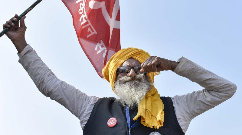 A farmer during the ongoing protest against the new farm laws at Singhu border, in New Delhi on January 31, 2021. (PTI/Ravi Choudhary)