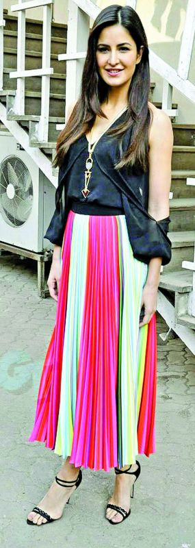 Katrina Kaif's multi- coloured skirt is just what you need for a casual day out.