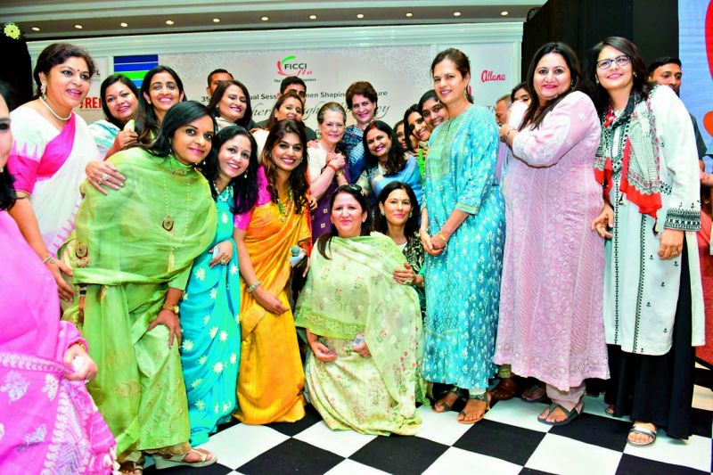 Members of Ficci FLO, Hyderabad Chapter taking selfies with Sonia and Priyanka after the event.