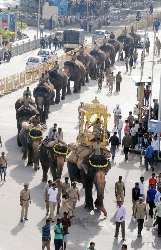Dasara jumbos rehearse for the procession. (Photo: mysoredasara.gov.in)