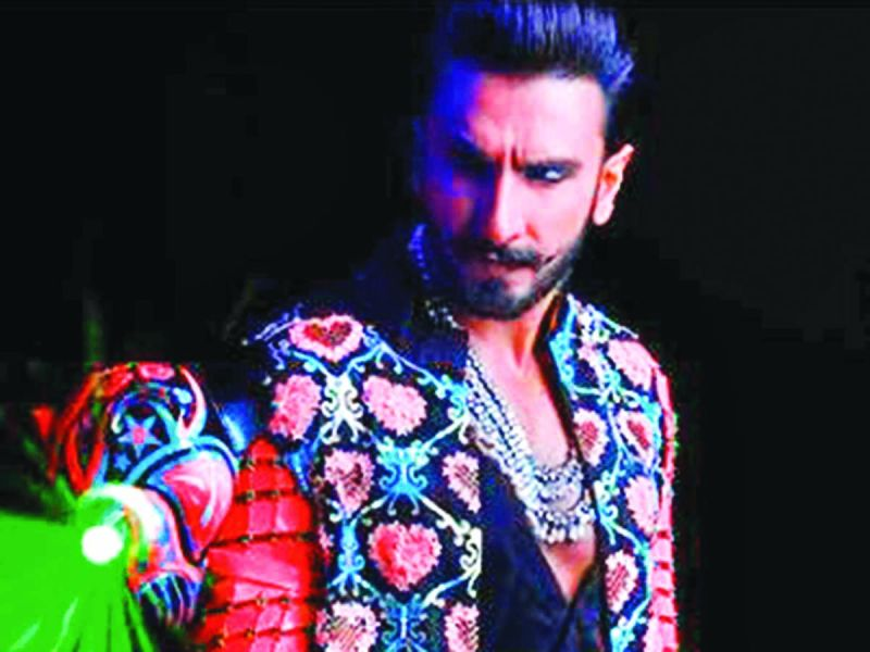 Actor Ranveer Singh in  a Manish Arora outfit