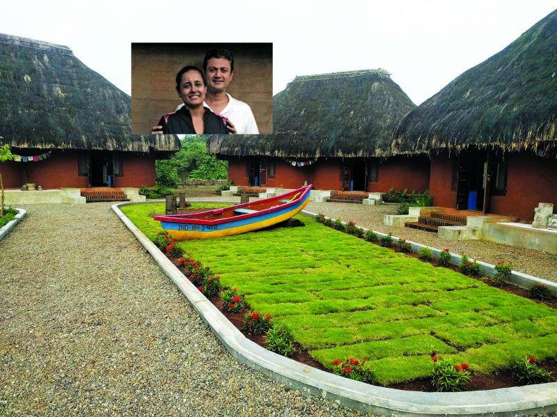 The living quarters at the Art Village; (inset) founders of Art Village, Ganga and Kunal Kadakia.