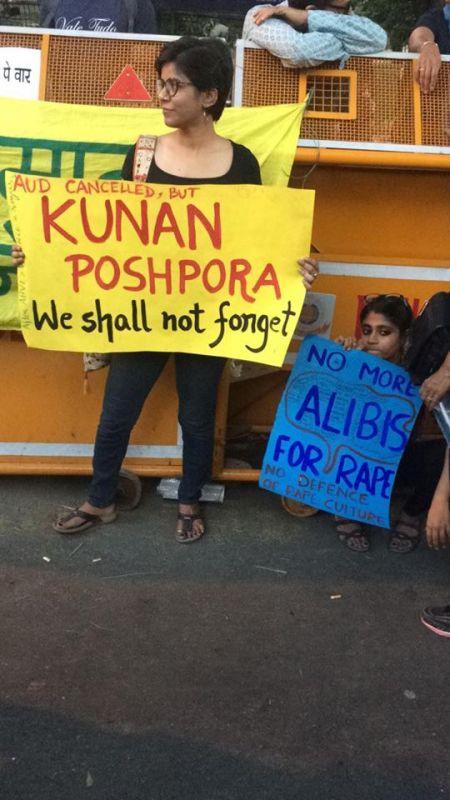 Protesters holding placards in Delhi. (Photo: Aditi Yajnik)