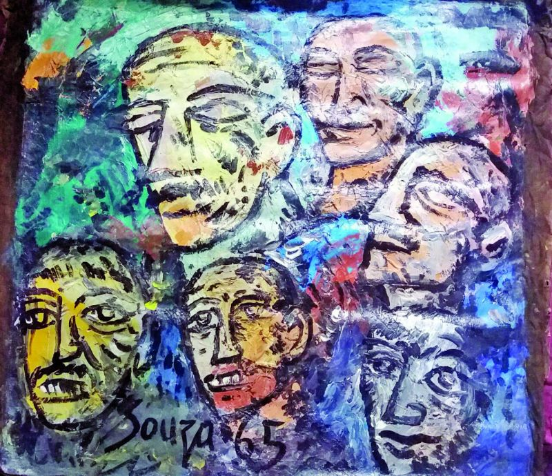 Artwork by F.N. Souza, A vision of multiple heads and Honeymoon in Goa