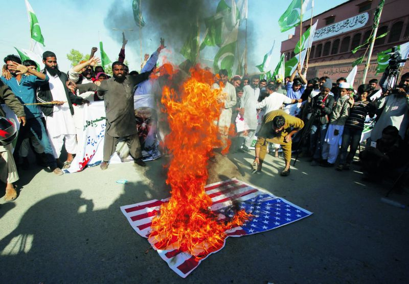 Angry scenes from the streets of Pakistan. (Photo: AP)