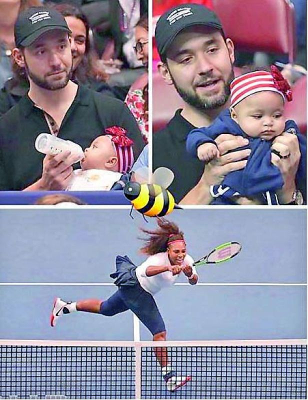 Masaba Gupta shared a photo of Alexis Ohanian feeding their five-month-old baby on the bleachers while watching wife Serena Williams play a match
