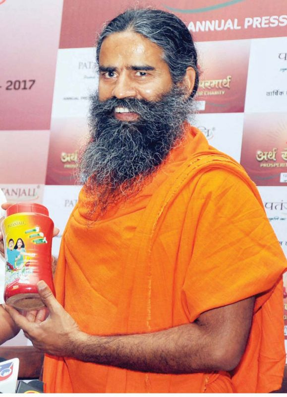 All natural: Baba Ramdev has successfully become the face of his own Patanjali line of products.