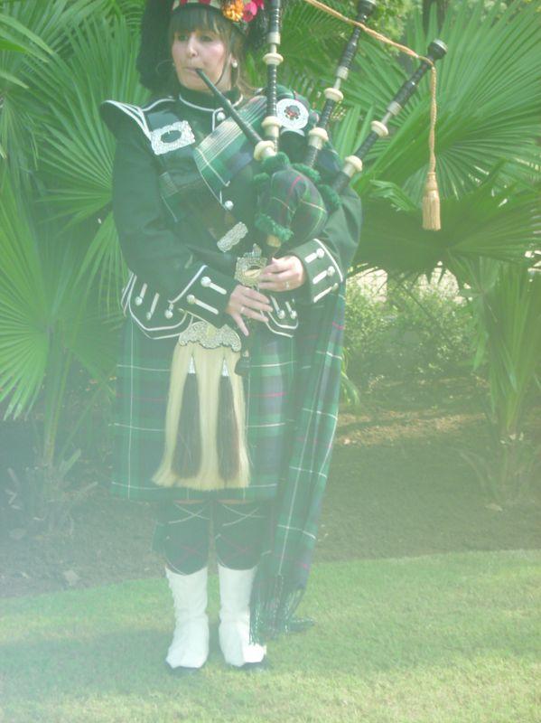Scottish bagpiper player Laura Mennie