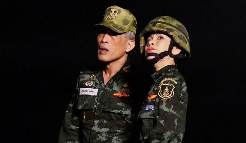 Thai royal noble consort Sineenat Bilaskalayani, also known as Sineenat Wongvajirapakdi, with King Maha Vajiralongkorn. Photo: AFP
