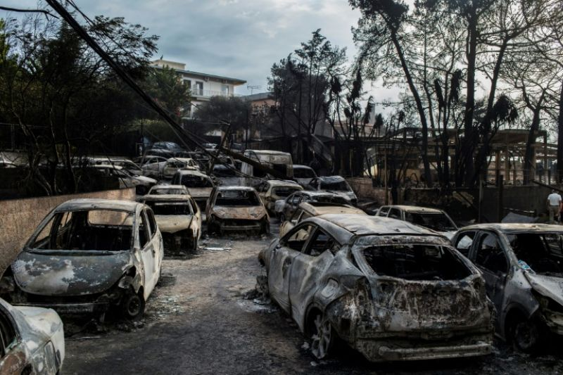 Winds of above 100 kilometres per hour (60 mph) in Mati caused a 'sudden progression of fire' through the village. (Photo: AFP)