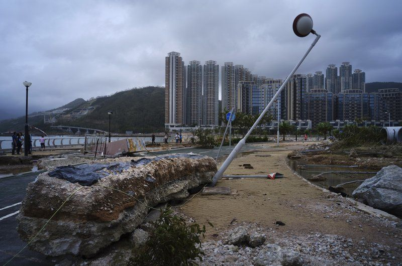 Debris caused by Typhoon Mangkhut is seen outside a housing estate on the waterfront in Hong Kong on Monday, September 17, 2018. (Photo: AP)