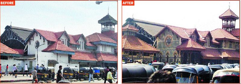 While restoring Bandra Railway Station, Abha's team found exposed stone, rubble masonry that had then been covered up with cement and painted over.