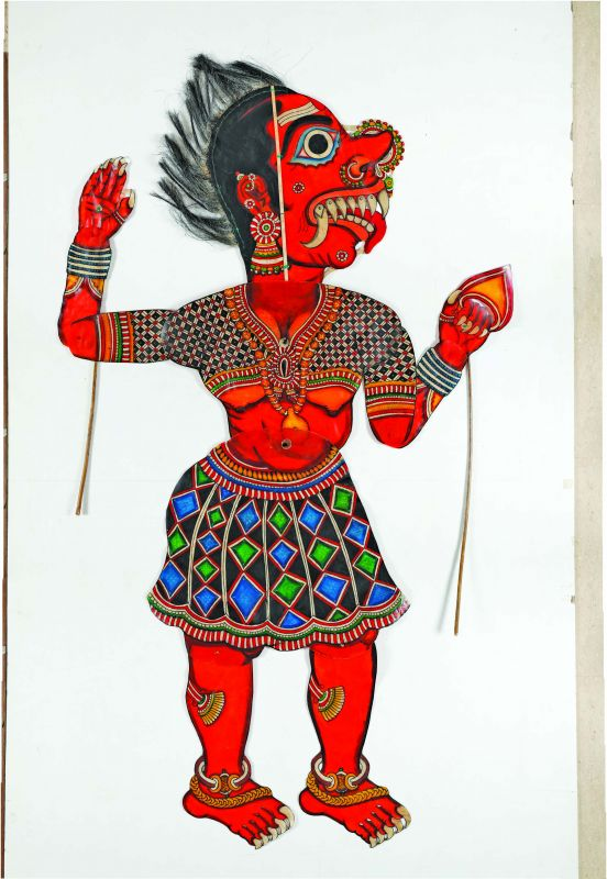 The figure of Lankini in the traditional style of Tholubommalata by M. Chidambara Rao