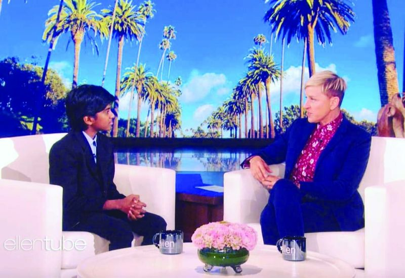 Lydian Nadhaswaram at The Ellen DeGeneres Show.