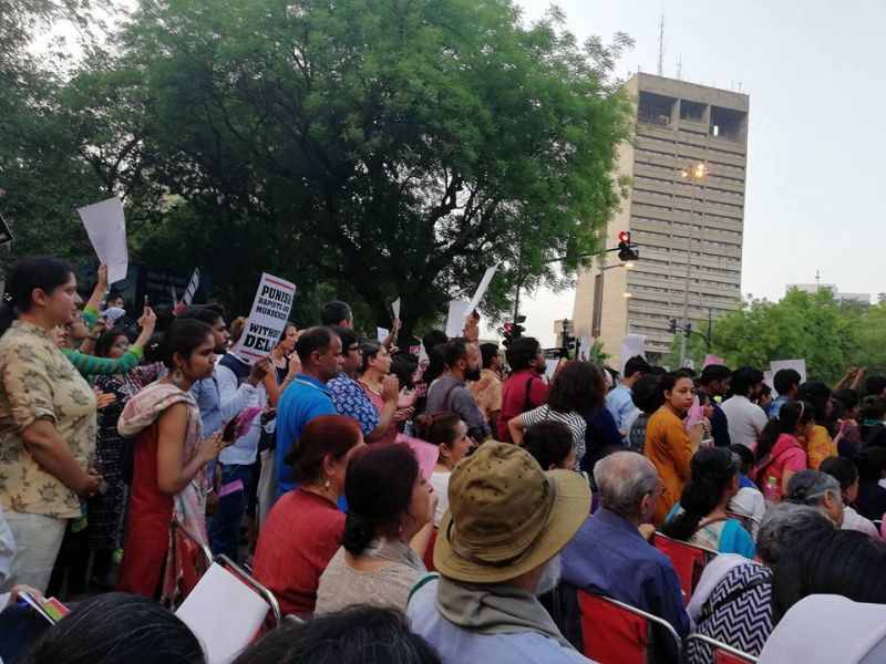 Protest at Parliament Street in Delhi on April 15. (Photo: Facebook | Kawalpreet Kaur)