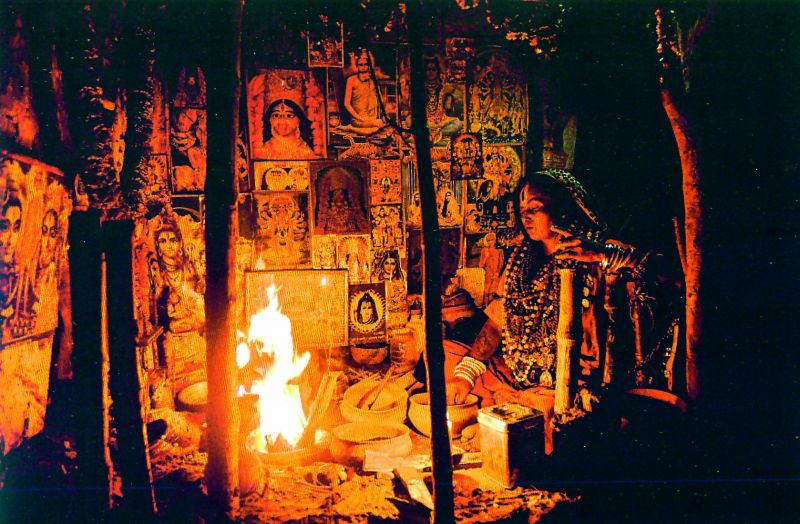 A sadhvi, or holy woman, in Tantric practice