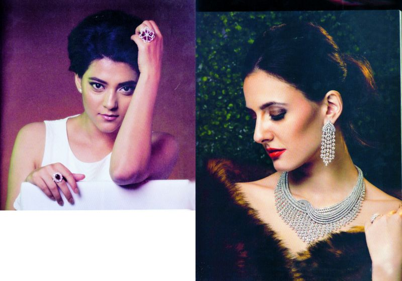 Photographs of models endorsing jewellery brands in glossies