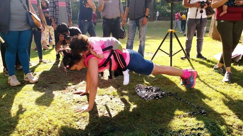 Doctor Monali demonstrating baby wearing workout.  (Photo: File)