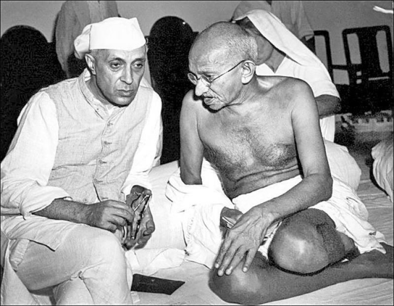 Jawaharlal Nehru with Mahatma Gandhi
