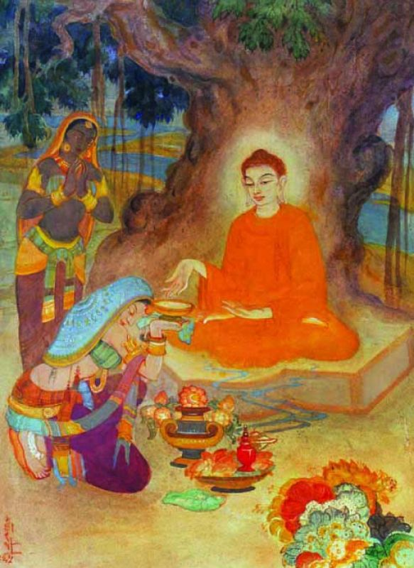 Sujata offering milk rice to Lord Buddha (1965)