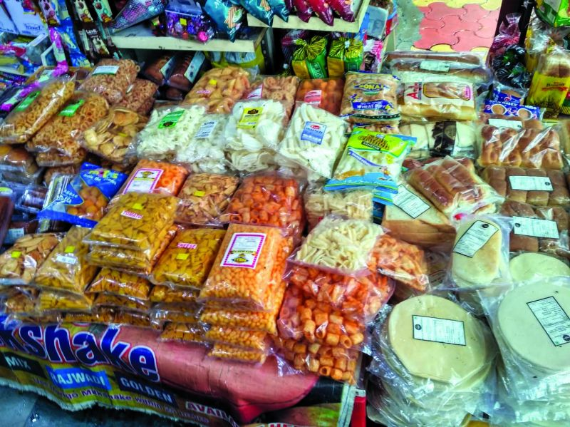 Locally produced snacks packed in plastic