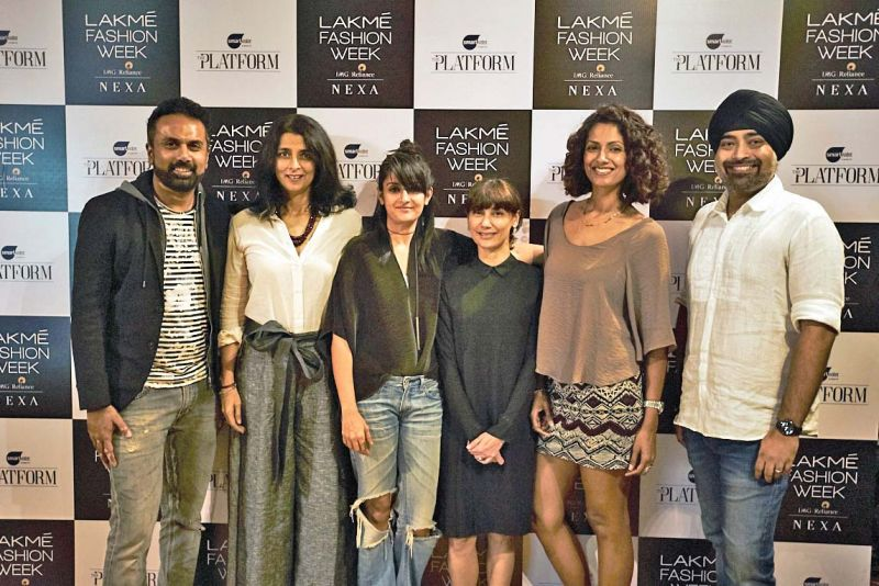 (L-R): Jury members of The Platform, Anoop Manohar, Tina Tahiliani, Payal Khandwala, Nonita Kalra,  Sheetal Mallar and Jaspreet Chandok.